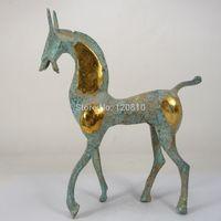 Collect china alte handarbeit schöne kupfer pferd statue dekoration-in Statuen & Skulpturen aus Heim und Garten bei