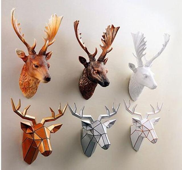 Simulaci n creativa europea pared cabeza de ciervo cabeza de animal tridimensional colgante - Cabeza de ciervo decoracion ...