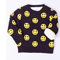 Baby Kids Children O Neck Smile Face Long Sleeves Knit Thickening Sweater Tops Blouses Winter children's Warm Coat clothing 1-5T