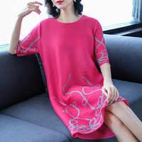 Женское плиссированное платье модное платье большого размера с бусинами для ногтей