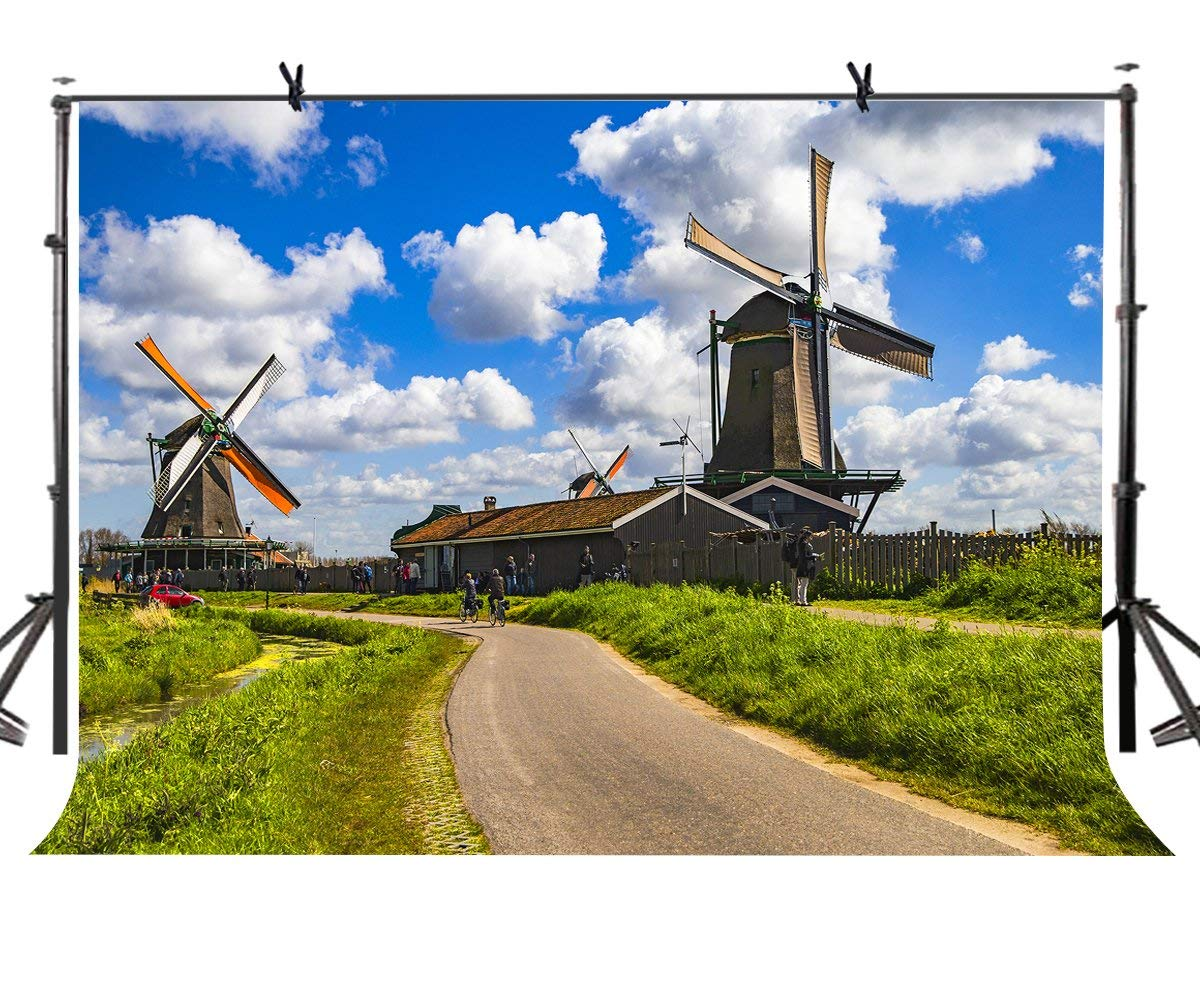 150x220cm Windmill Village Backdrop Dutch Beautiful Photography Background for Camera Photo Props
