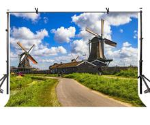 150x220cm Windmill Village Backdrop Dutch Windmill Village Beautiful Photography Background for Camera Photo Props