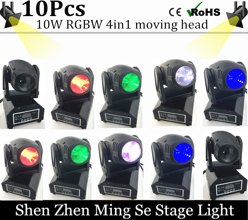 10units 10W RGBW 4in1 moving head DMX512 light beam LED spot Lighting Show Disco DJ Laser Light 192 controller 10w mini led beam moving head light led spot beam dj disco lighting christmas party light rgbw dmx stage light effect chandelier