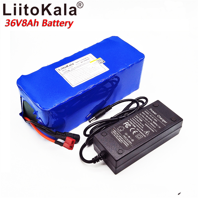 LiitoKala 36v8ah electric bicycle lithium-ion battery 18650 8000mAh 10S4P large capacity battery pack bms 500W with 2A charger