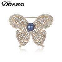 DOYUBO Brand Luxury Women 925 Sterling Silver Butterfly Brooch Fashion Freshewater Pearl Lady Cubic Zircon Brooch Jewelry VH008