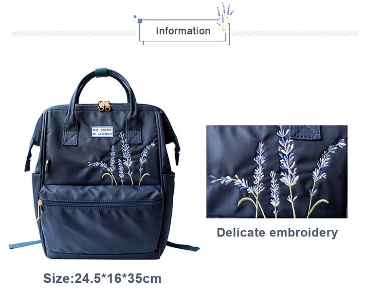 HTB1FMqeXUY1gK0jSZFCq6AwqXXac Flower Princess Embroidery Nylon Women Backpack Water-resist Laptop Bag College Travel Bagpack for Girl Daypack Mochila Feminina