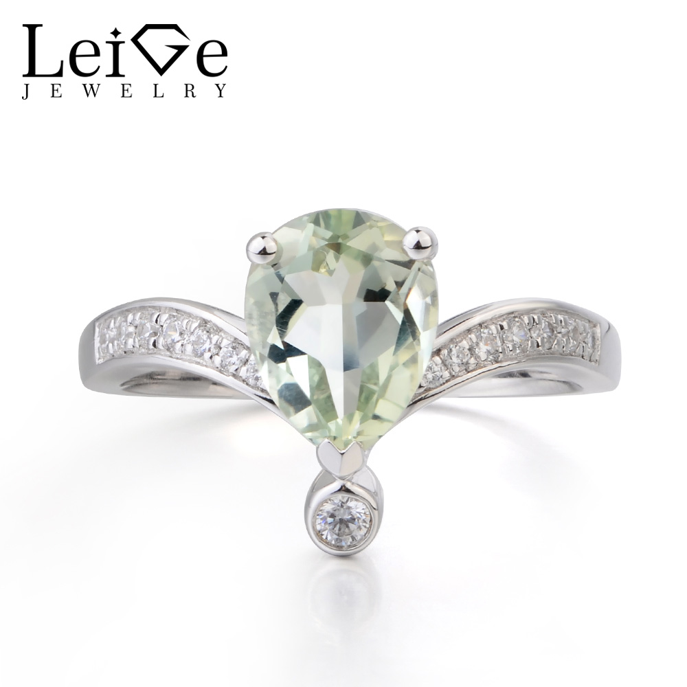 Leige Jewelry Engagement Ring Real Natural Green Amethyst Ring Pear Cut Green Gemstone 925 Sterling Silver Ring Anniversary Gift цена