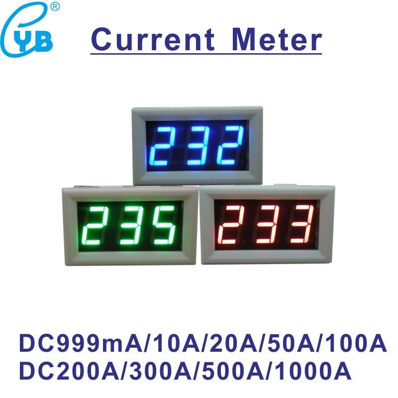 Цифровой светодиодный амперметр постоянного тока 999mA 10A 20A 50A/75mV 100A Амперметр 200A 300A Белый Цвет Красный Синий Зеленый цифровой 0,56''
