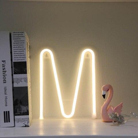 luminaria led neon de 26 letras alfabeto festa de casamento quarto decoracao de
