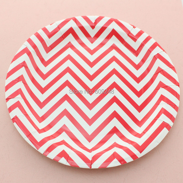 24pcs 9  Red Chevron Birthday Christmas Paper Plates RoundParty Dessert Paper Dishes DIY  sc 1 st  AliExpress.com & 24pcs 9