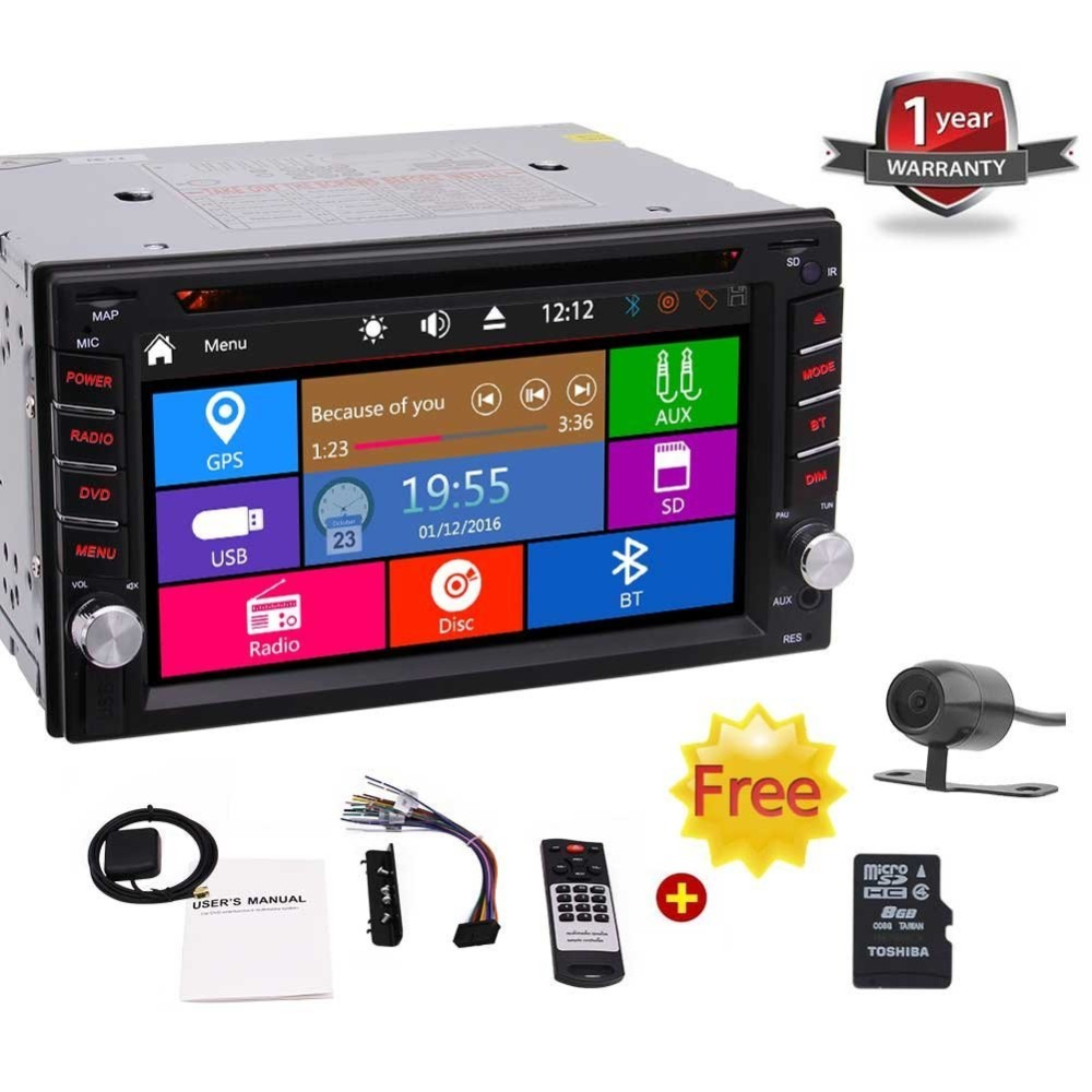 Double 2 DIN in Dash Car Dvd Player GPS Car Stereo Touch Screen with Bluetooth USB Dual SD Card Slot FM AM RDS Radio AUX for Car universal 6 2 touch screen car dvd player 2 din car radio stereo with fm am usb sd bluetooth tv without gps
