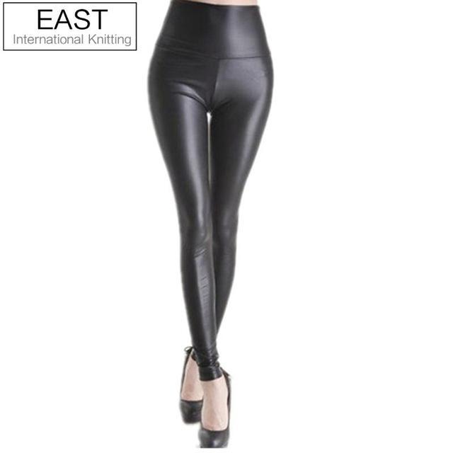 East Knitting Black women leggings faux leather high quality slim leggings plus size High elasticity sexy pants leggins