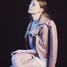 LIENZY Winter Autumn Casual Women Pink PU Jacket Coat Long Sleeve Slim Bodycon Crop Suede Motercycle