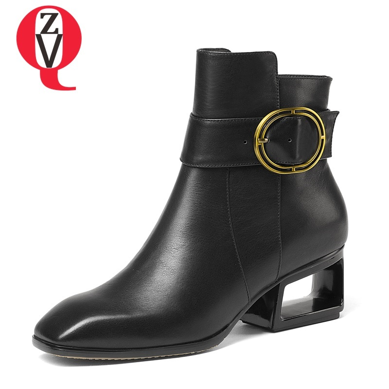 ZVQ newest genuine leather square toe metal decoration high quality women winter boots high heels black and grey ankle boots luxury women s square middle heels point toe pumps ankle boots shoe pr1364 black grey genuine sheepskin leather female boots