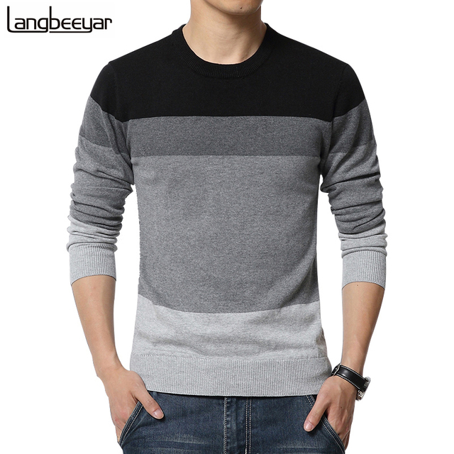 2019 New Autumn Fashion Brand Casual Sweater O Neck Striped Slim Fit