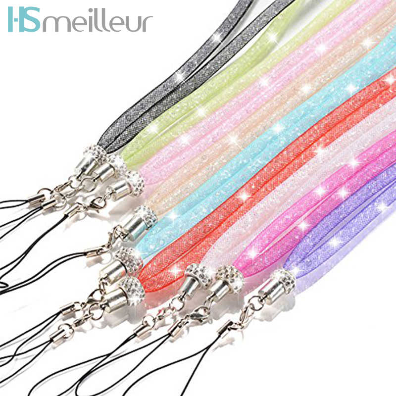Hsmeilleur Bling Women Crystal Neck Strap Lanyard Necklace For Phone Case Keychain ID Name Badges USB Flash Drive Holder Cords