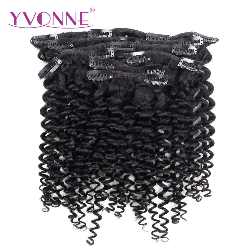 Ивонн вьющиеся волосы Малайзии человека зажим для волос в волос Девы продуктов волос 7 шт./компл. натуральный Цвет 120 г/компл.