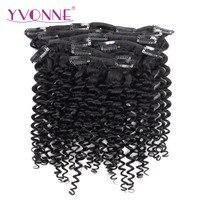 YVONNE CHEVEUX Malaisiens Bouclés de Cheveux Humains Clip Dans Les Cheveux Extensions Vierge Cheveux Produits 7 Pièces/ensemble Naturel Couleur 120 g/ensemble