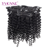 YVONNE HAIR Malaysian Curly Human Hair Clip In Hair Extensions Virgin Hair Products 7 Pieces/Set Natural Color 120g/set