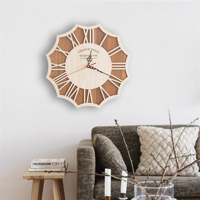 Antique Style Wooden Wall Clock Creative Modern Home Decor Wall Clock Retro Pocket Watch Natural Decorations Best Gifts For Kids