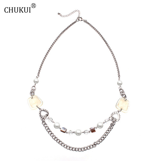 CHUK Grass Diamond Shell Bead Iron Chain Necklace Womens Clothing Accessories