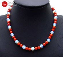 цена Qingmos Trendy Natural Red Coral Chokers Necklace for Women with 6-7mm Red Coral & 8mm Blue Opal 17'' Necklace Jewelry-nec6081 онлайн в 2017 году