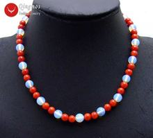 Модное ожерелье чокер qingmos из натурального красного коралла