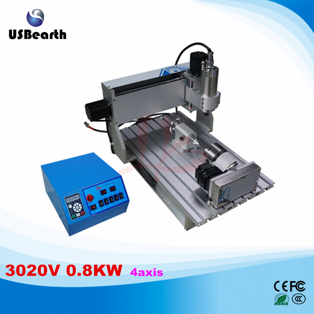 LY CNC 3020V 0.8KW 4 axis mini CNC carving machine mini lathe VFD controller duty free to RU ly 6090v 2 2kw 3 axis mini cnc carving machine lathe vfd controller for 3d metal milling work duty free to ru