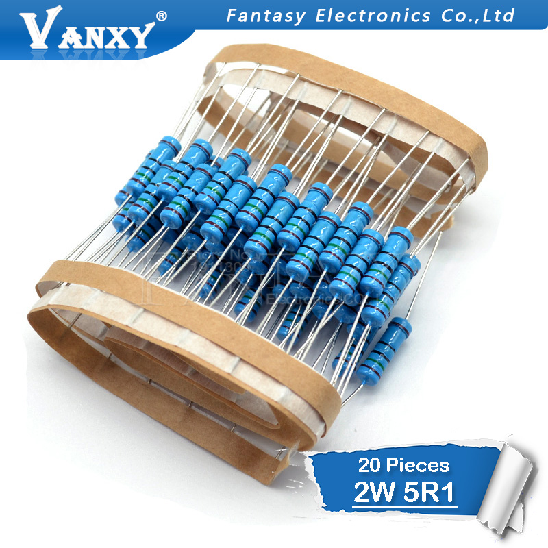 20pcs 5.1 Ohm 2W 5.1R 5R1 Metal Film Resistor