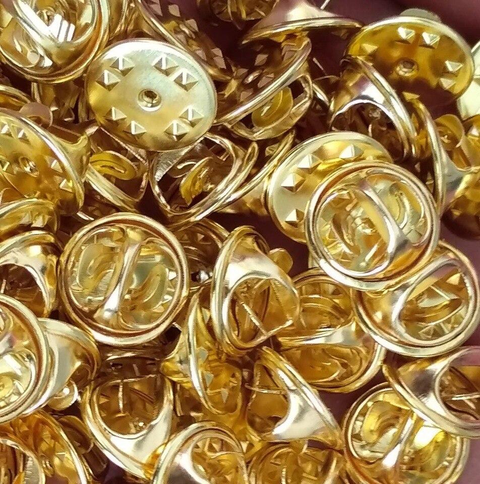 50pcs Brass Badge Tie Tacks Butterfly Pinch Back Pins Clutch Back Lapel Pin