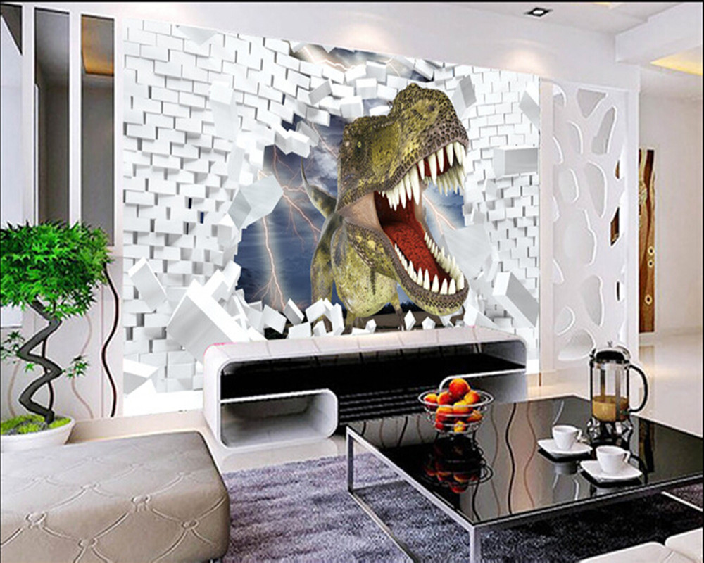 Custom 3D murals,3 d cartoon dinosaur papel de parede,living room sofa TV wall children bedroom wallpaper custom children wallpaper multicolored crayons 3d cartoon mural for living room bedroom hotel backdrop vinyl papel de parede