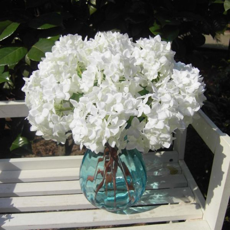 Wedding White Hydrangea: New 2pcs White Hydrangea Artificial Silk Flower Wedding