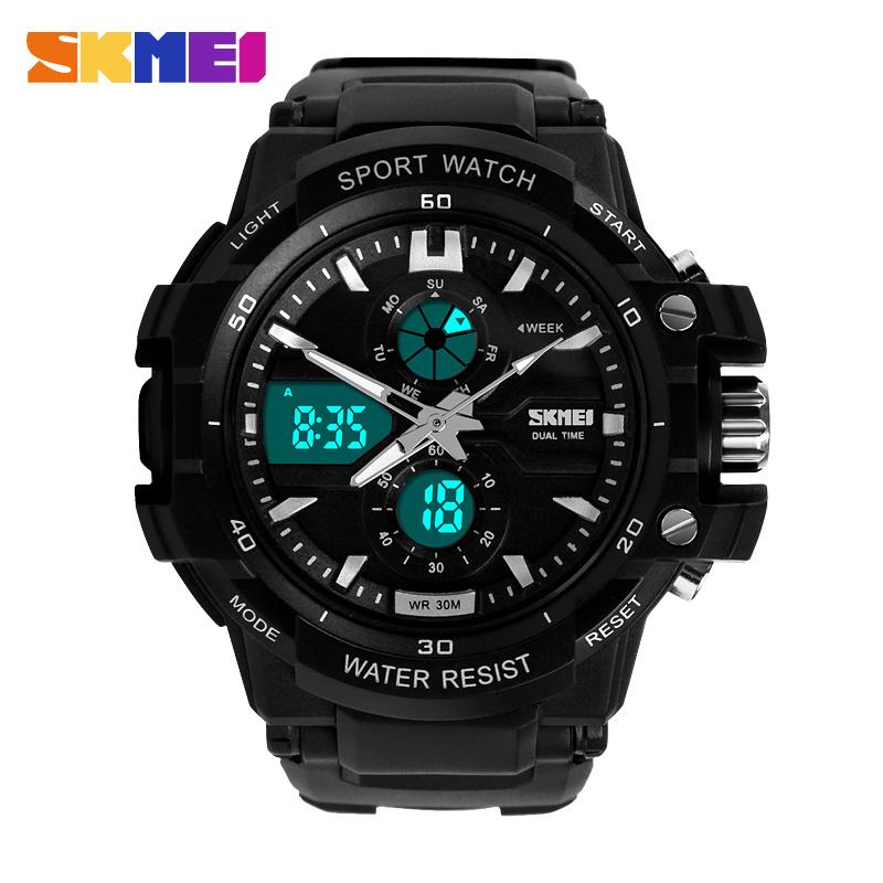 Prix pour New S Shock mode montres hommes montres de sport Skmei 2 Time Zone Quartz numérique LED électronique plongée montres militaires