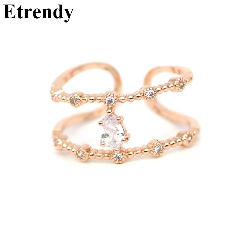 Rose Gold color Adjustable Double Layers Rings For Women Fashion Jewelry Micro Pave Zircon Ring Cute Gift Bijoux in Rings from Jewelry Accessories