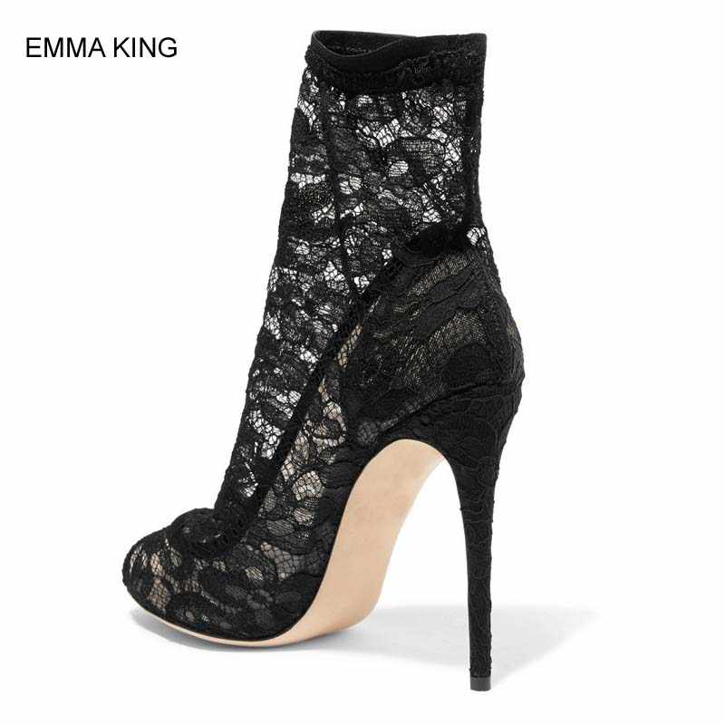 8e383ccc400b1b ... EMMA KING Stretch Lace Sock Ankle Boots Women Peep Toe Thin High Heels  Mujer Autumn Booties