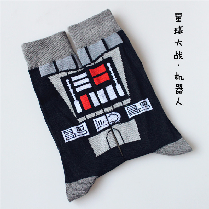 Anime Star Wars robot Sock Cotton Comics Women Men The Force Awakens Street Cosplay Socks funny happy spring autumn classic Sock