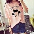 girls printed tops teenage years 2016 summer short sleeve children t-shirt cute animal cartoon t-shirt candy color white pink