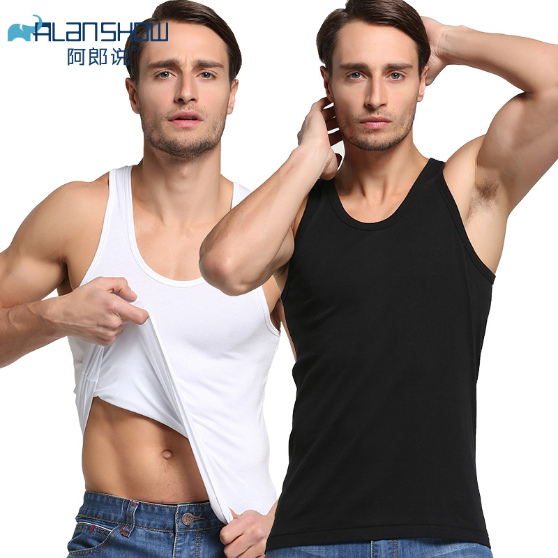 ALANSHOW 2pieces  Tank Tops For Men Combed Cotton Underwear Men Camisoles & Tank Sleeveless Tank Men Undershirts  Free Shipping