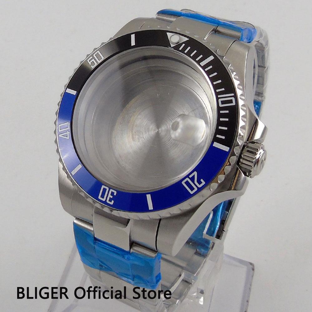Sapphire Crystal 43MM Blue Black Ceramic Bezel Solid Stainless Steel Watch Case Fit For ETA 2824 2836 Miyota 8215 Movement C112 цена