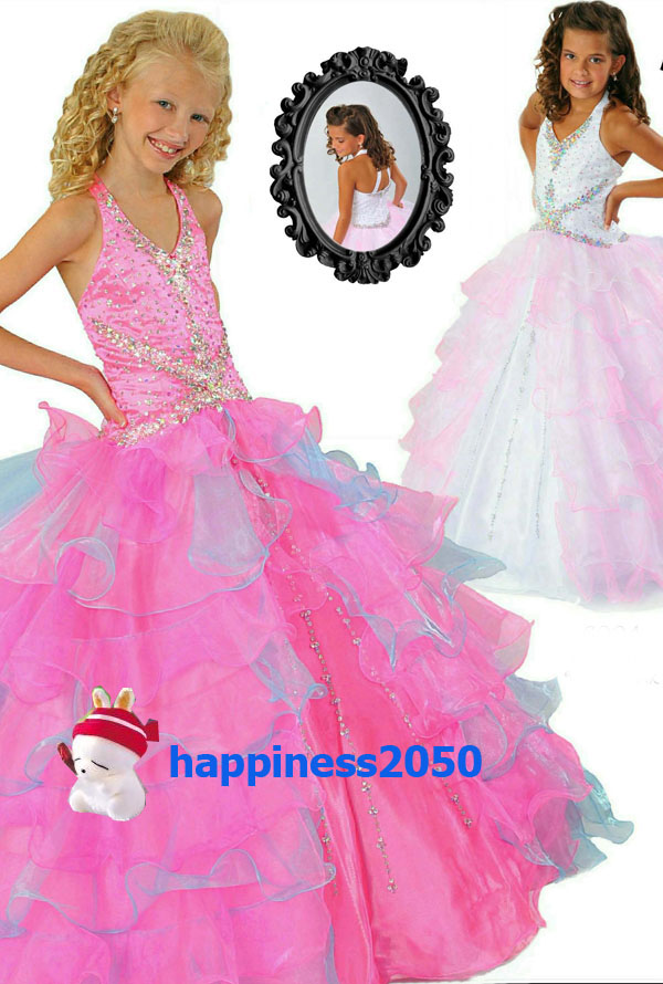 Pretty pinkblue halter organza flower girl dresses princess dresses pretty pinkblue halter organza flower girl dresses princess dresses pageantparty dress custom made size 2 6 8 10 12 14 f18165 mightylinksfo