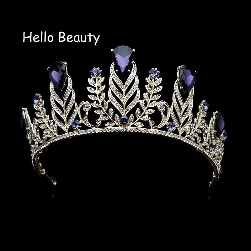 Vintage Baroque Leaf Rhinestone Wedding Hair Accessories Large Purple Crystal Crown Tiaras Bridal Prom Head Jewelry For Bride