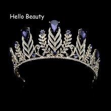 Vintage barroco hoja Rhinestone boda pelo accesorios grandes púrpura Crystal  Crown Tiaras nupcial cabeza joyas para La novia 042d4c6dd3ad