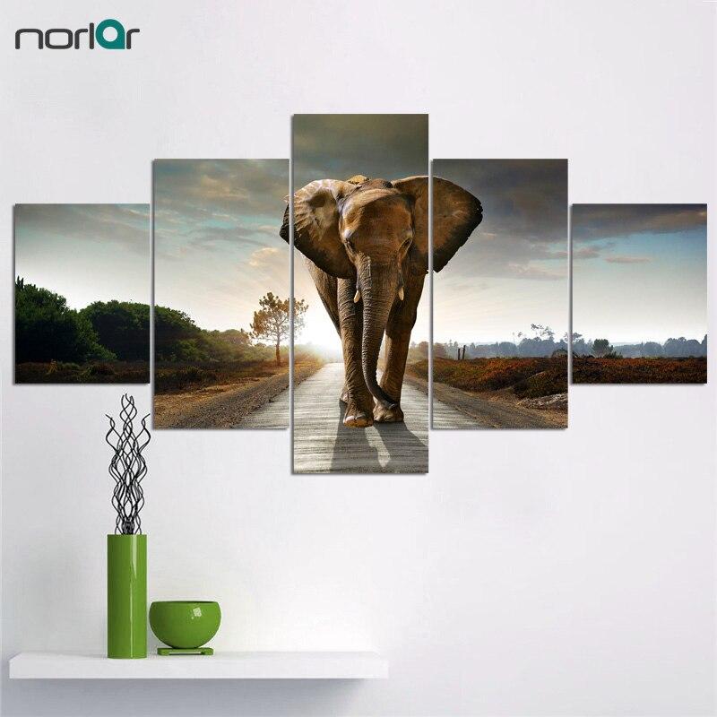 대형 캔버스 프레임이없는 5 개 코끼리 그림 캔버스 벽 예술 그림 홈 장식 거실 캔버스 인쇄 현대 그림