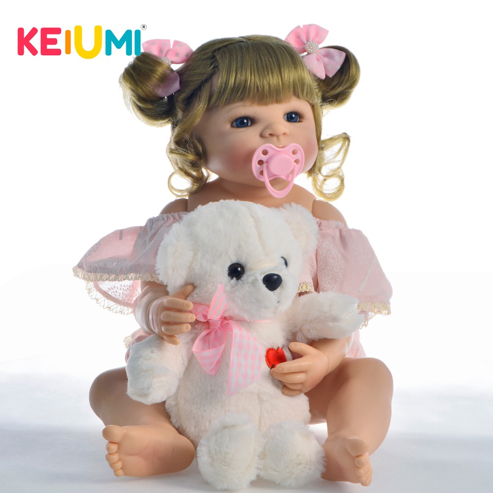 Fantasy 22 Full Silicone Vinyl Reborn Baby Doll Girl Curved Hair For Kids Gift Lovely Collectible