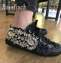 2019 New Rhinestone Crystal Sneakers Women Black Hand-Stitched Gemstone Canvas Shoes Fashion Casual Walking WK125