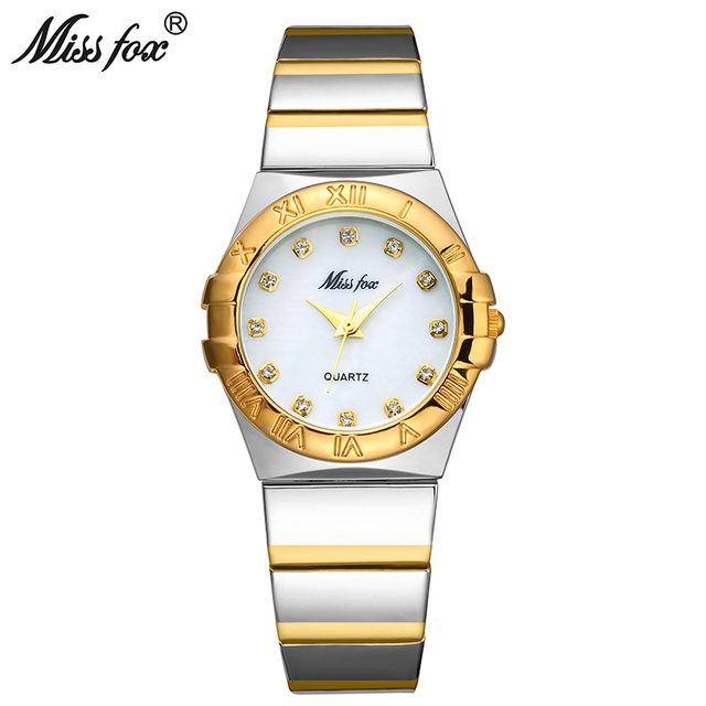 MISSFOX Elegantนาฬิกาผู้หญิงเพชรตัวเลขโรมันPearl Shell Classicสุภาพสตรีนาฬิกากันน้ำหญิงควอตซ์นาฬิกาข้อมือ