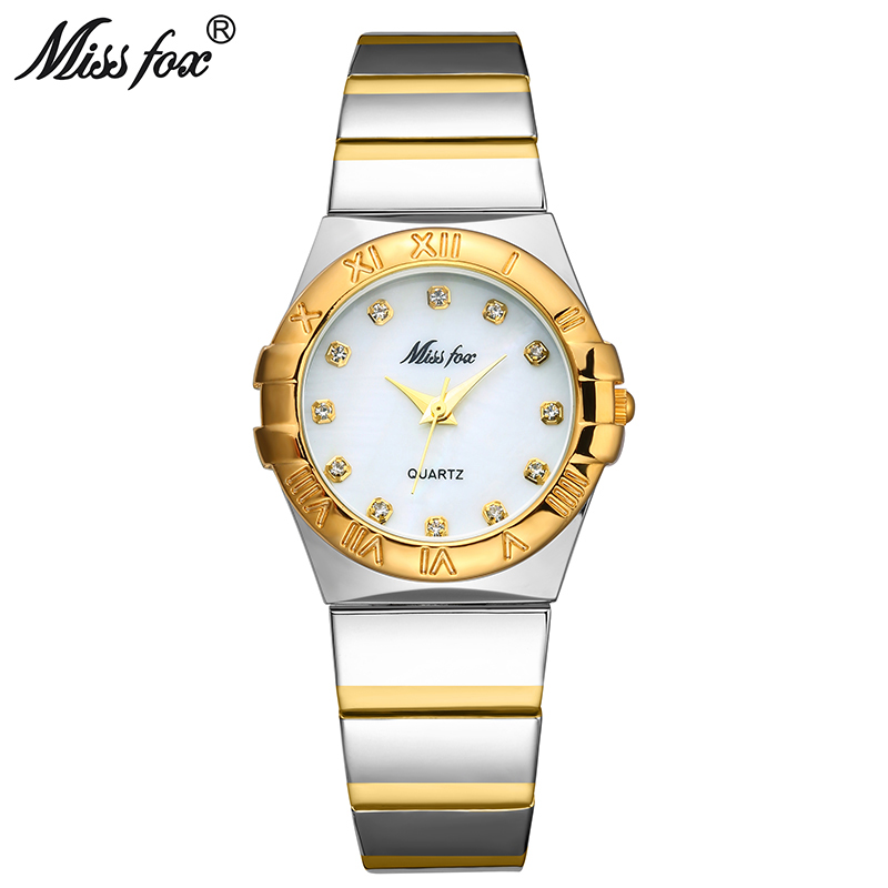MISSFOX Elegant Watches Women Diamond Roman Numerals Pearl Shell Classic Ladies Gold Watch Waterproof Female Quartz Wristwatch