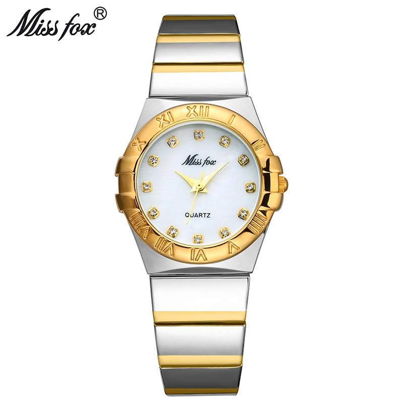 MISSFOX Elegant Watches Women Diamond Roman Numerals Pearl Shell Classic Ladies Gold Watch Waterproof Female Quartz Wristwatch
