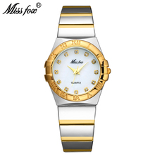 MISSFOX אלגנטי שעונים נשים יהלומים רומי ספרות פרל מעטפת קלאסי גבירותיי זהב שעון עמיד למים נקבה קוורץ שעוני יד