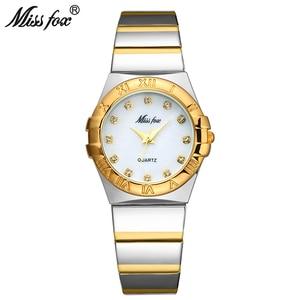 Image 1 - MISSFOX ساعات أنيقة النساء الماس الأرقام الرومانية اللؤلؤ قذيفة الكلاسيكية السيدات ساعة ذهبية مقاوم للماء الإناث كوارتز ساعة اليد